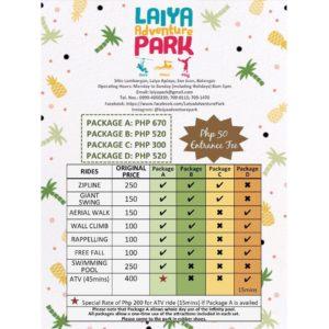 laiya adventure park rates