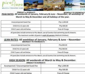 pico de loro beach resort entrance fee